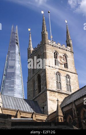 The Shard and Southwark Cathedral London - Stock Image