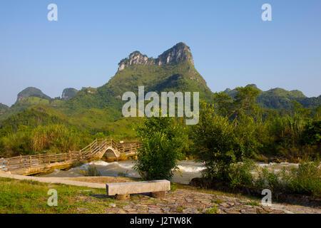 Quangxi, China, Detian, border, Vietnam, Asia, Karst mountains, Karst, river - Stock Image