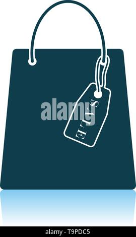 Shopping Bag With Sale Tag Icon. Shadow Reflection Design. Vector Illustration. - Stock Image