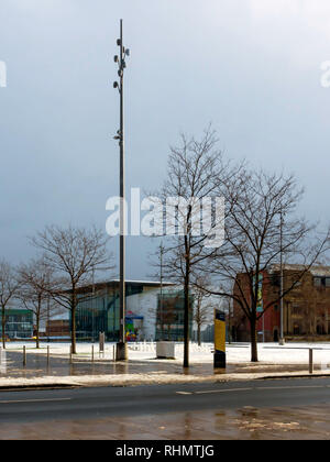 Centre Square Middlesbrough showing the library and the MIMA Art Gallery deserted on a snowy winter's day - Stock Image