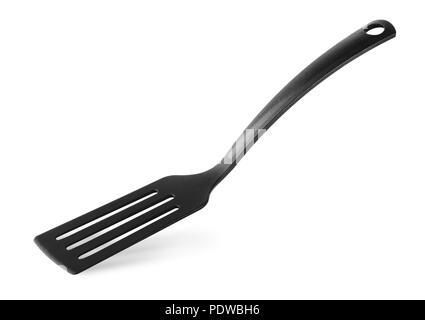 Kitchen black spatula isolated on white background - Stock Image