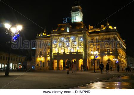 Novi Sad at night - Trg Slobode (Liberty Square) and the City Hall. Novi Sad, Vojvodina, Serbia. - Stock Image
