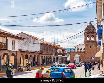 Cusco, Peru - January 6, 2017. View of the Portal Espinar door and the Basilica Menor de la merced church - Stock Image