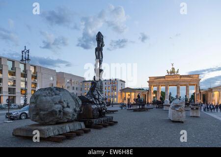 Lapidarium , Open Air Exebition by Gustavo Aceves at Paris Sqaure, Brandenburg Gate, Berlin - Stock Image