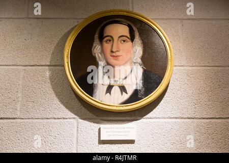 Portrait oil painting of Hepzibah Evans nee Adams, born Farrington Gurney, Radstock museum, Somerset, England, UK - Stock Image