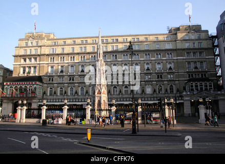 Charing Cross Hotel and railway station entrance London - Stock Image
