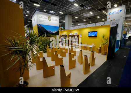 Turin, Piedmont, Italy, 10th May, 2018. International Book fair 2018,first day. Valle d'Aosta stand Credit: RENATO VALTERZA/Alamy Live News - Stock Image