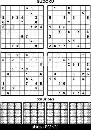 Four sudoku puzzles of comfortable (easy, yet not very easy) level, on A4 or Letter sized page with margins, suitable for large print books. Set 13. - Stock Image