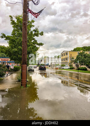 USA weather Chappaqua NY 19 June 2017: Severe thunderstorms with torrential downpours Monday evening cause conditions - Stock Image