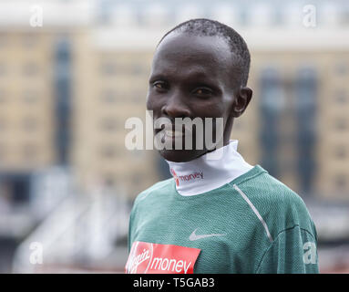 London,UK,24th April 2019,Abraham Kiptum(Ken) attends The London Marathon Elite Mens Photocall which took place outside the Tower Hotel with Tower Bridge in the background ahead of the Marathon on Sunday. Credit: Keith Larby/Alamy Live News - Stock Image