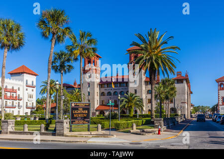 The Alcazar Hotel on the National Register of Historic Places  built by Henry Flagler and opened in 1888 is currently the Lightner Museum - Stock Image