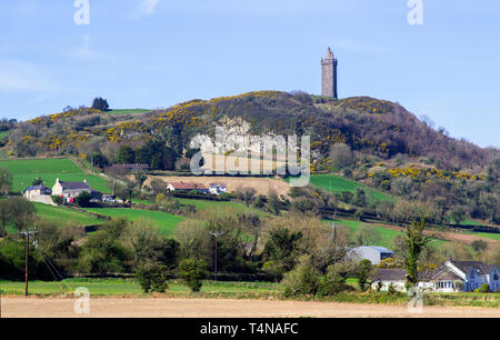 April 2019 The Scrabo Tower monument on Scrabo Hill outside newtownards County down viewed from the south west on the Comber Road from Newtownards tow - Stock Image