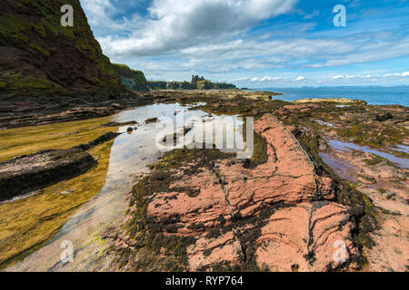 Tantallon Castle from the Gegan rocks, Seacliffe Beach.  Near North Berwick, East Lothian, Scotland, UK - Stock Image