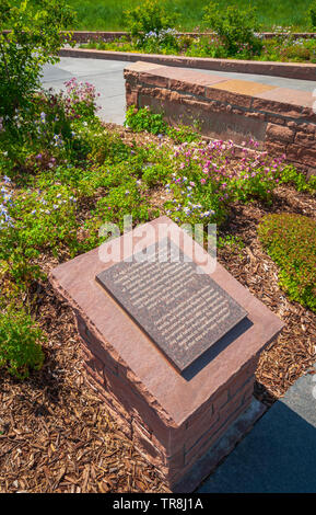 One of many plaques on display at beautiful Columbine Memorial, Litteton Colorado. Near here,12 students were murdered and 1 teacher, April 20,1999. - Stock Image