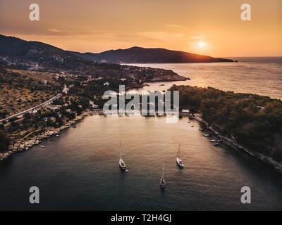 Sunset at Aliki Beach, Thasos Island (Thasos), Greece in the Aegean Sea - Stock Image