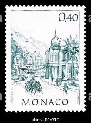Monaco postage stamp (1991): Early Views of Monaco definitive series: Place du Casino - Stock Image