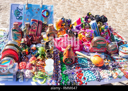 Souvenir stall at The Lookout, Shirley Heights, Saint Paul Parish, Antigua, Antigua and Barbuda, Lesser Antilles, Caribbean - Stock Image