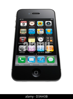 A cut out shot of an iPhone 4 with perspective - Stock Image