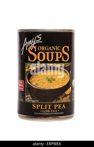 Amy's Brand Organic Split Pea Low Fat Soup - Stock Image
