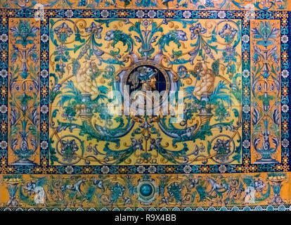 Close up view of ceramic decorative wall tiles, typically seen in Seville, Andalucia, Spain - Stock Image
