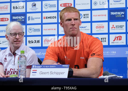Elite, Paratriathlon Geert Schipper: May 16, 2019, Yokohama, Japan: Press Conference for the 2019 ITU World Triathlon and Paratriathlon Yokohama at the Monterey Hotel in Yokohama, Japan. The race will be held on May 18-19 2019 near Yamashita Park in Yokohama. Credit: Michael Steinebach/AFLO/Alamy Live News - Stock Image