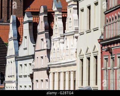 House facades in street Krämerstrasse, Wismar, Germany - Stock Image