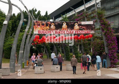 Buddhas Birthday Festival banners at South Bank, Brisbane, Queensland, Australia, May 2018 - Stock Image