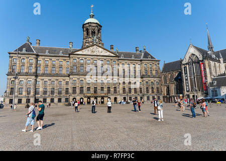 Royal Palace Amsterdam on the Dam Square in Amsterdam, Netherlands - Stock Image