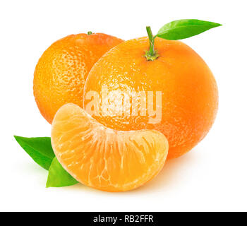 Isolated citrus fruits. Tangerines on white background with clipping path - Stock Image