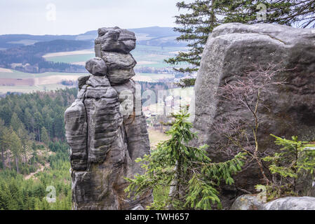 Rock formation in Ostas Nature Reserve in Table Mountains range in Czech Republic - Stock Image