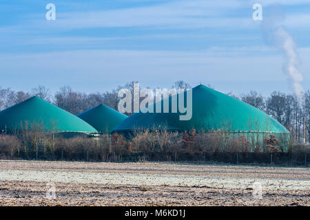 Biogas  power plant on a frozen day, Celle, Germany - Stock Image