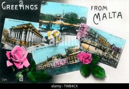 Malta - Greetings Postcard, featuring inset pictures of (from left): The Royal Opera House at Valletta - The Custom House and Barracca Lift - The Fountain at the St Antonio Garden, Casal Attard and the Fish Market Marina.     Date: circa 1910s - Stock Image