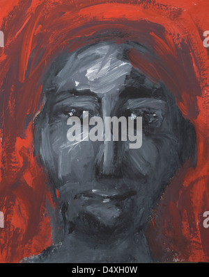 Portrait of a thoughtful man looking sideways. - Stock Image