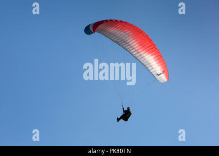 UK, England, Yorkshire, Filey, paraglider flying above cliffs at Crescent Gardens - Stock Image