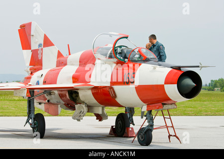 Croatian Air Force MiG-21 UMD, Pleso AFB during 'open day' visit in 2007 - Stock Image