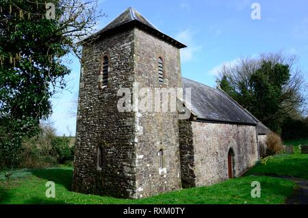 St Odoceus Church Llandawke Laugharne now in the care of Friends of Friendless Churches Carmarthenshire Wales Cymru UK - Stock Image