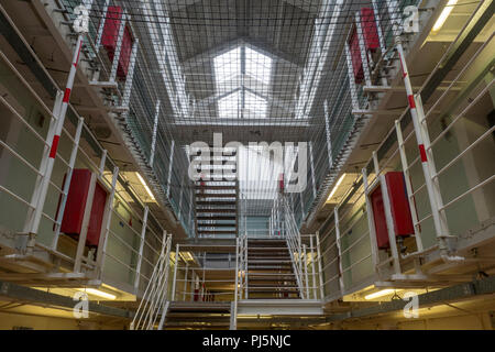 Levels and cells inside Peterhead Prison, Scotland.  Originally opened in 1888, the prison closed in 2013 and is now maintained as a museum. - Stock Image