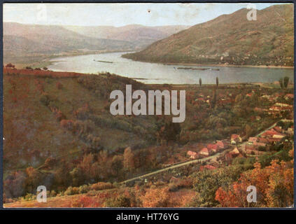 HUNGARY - CIRCA 1969: A postcard printed in Hungary, shows a Bend of the Danube, circa 1969 - Stock Image