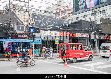 Phuket, Thailand 17th January 2019: Typical street scene in Patong. The resort is renowned worldwide. - Stock Image