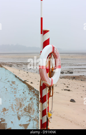 A life ring at a beach, Jincheng, Kinmen County,Taiwan - Stock Image