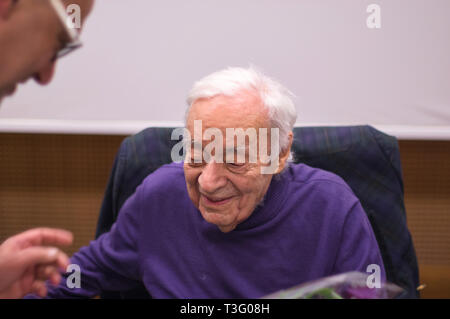 Polish author Jozef Hen in the Reading Room during a meeting at POLIN Museum - Warsaw, Poland. - Stock Image