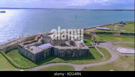 Aerial view of Southsea castle, in Portsmouth, Southern England, with the Solent sea and the Isle of Wight in the - Stock Image