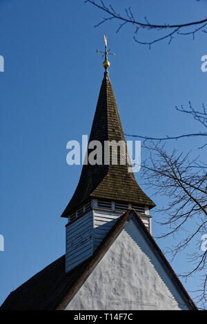 The spire of St Mary The virgin church in Northolt Village, Middlesex, United Kingdom - Stock Image