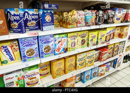 London England United Kingdom Great Britain Lambeth South Bank Sainsbury's grocery supermarket food convenience store shopping display cereal Kellogg' - Stock Image