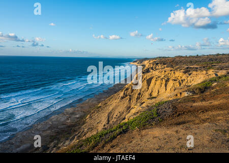 Sandstone cliffs at sunset, Torrey Pines, California, United States of America, North America - Stock Image