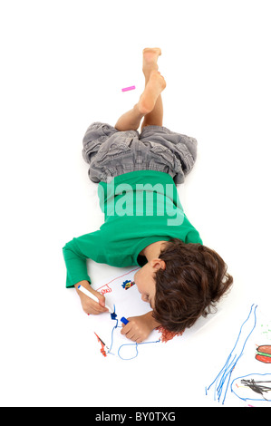 boy painting from above isolated on white - Stock Image