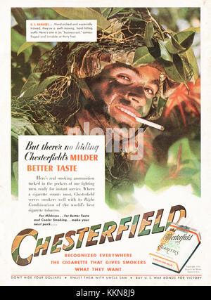 1943 U.S. Magazine Chesterfield Cigerette Advert - Stock Image