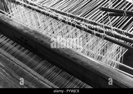 Antique weaving loom in an old Swedish farm in northern Sweden - Stock Image