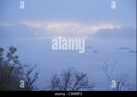 Brisbane city in morning fog, Queensland Australia - Stock Image