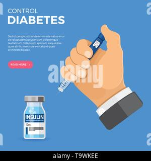 Control your Diabetes concept. Hand hold insulin pen syringe and insulin vial. flat style icon. concept of vaccination, injection. isolated vector ill - Stock Image